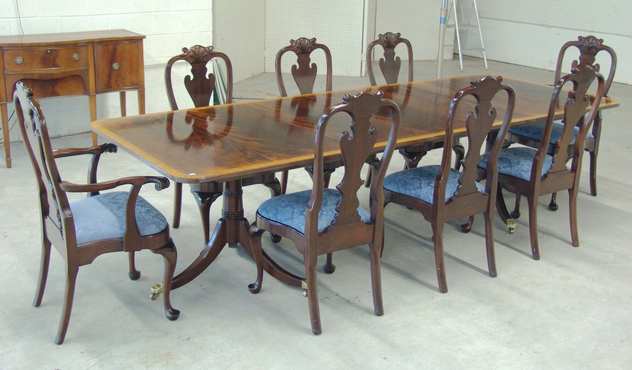 selling antiques furniture estate items laurel auction 14725 | 0824af stickley banded mah dining table chairs jpg