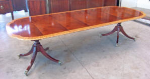 Banded Mahogany Double Pedestal Dining Table W 3 Leaves By Baker Furn Co Historic Charleston Collection