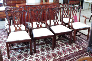 Set Of 8 Solid Mahogany Chippendale Style Dining Chairs By Henkel Harris Furn Co